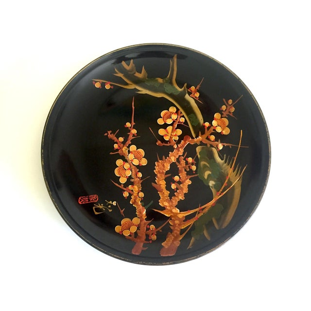 Vintage Mid Century Japan Hand Painted Flower Branch Blossoms Large Round Lacquer Tray Platter For Sale - Image 12 of 13