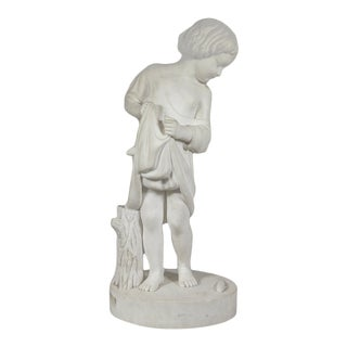 """American School Classical Marble Sculpture""""young Boy With Fish"""" Circa 1850 For Sale"""