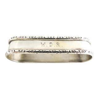 Webster Sterling Napkin Ring With Monogram W.D.R. For Sale