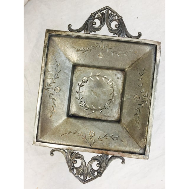 Traditional Vintage Etched Silver Dish For Sale - Image 3 of 11