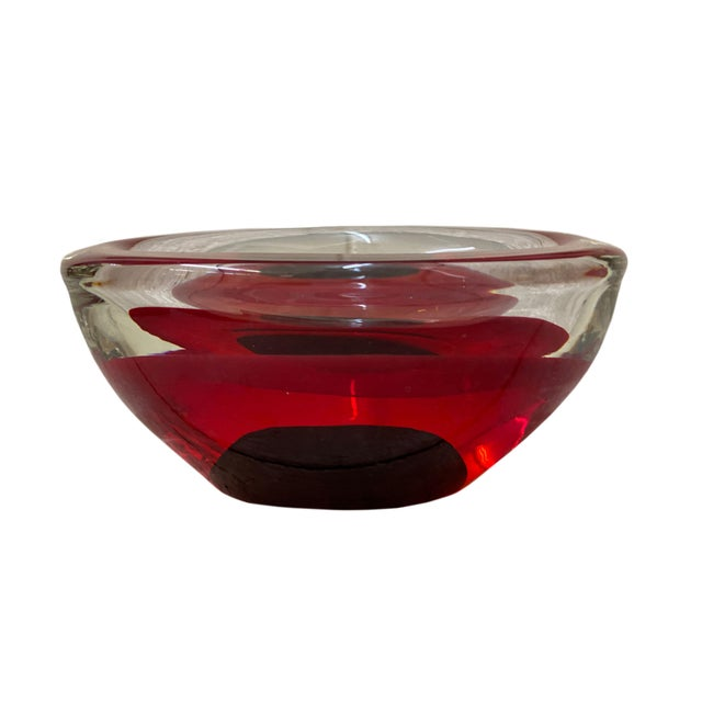 Mid Century Red Art Glass Bowl For Sale - Image 4 of 8