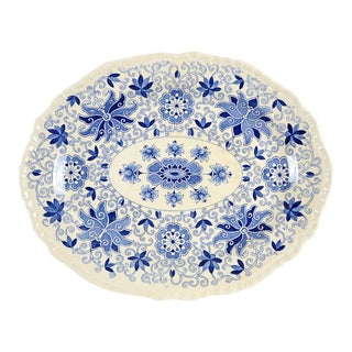 "Mason's Bow Bells Blue 13"" Oval Serving Platter For Sale"