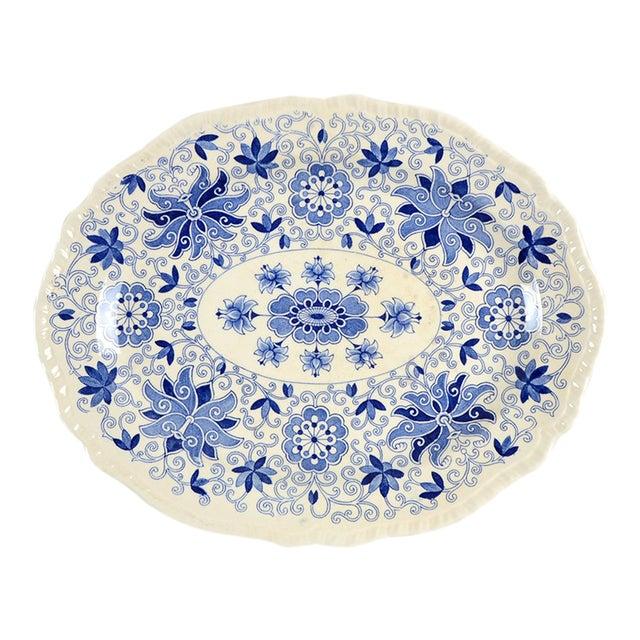 "Mason's Bow Bells Blue 13"" Oval Serving Platter For Sale"