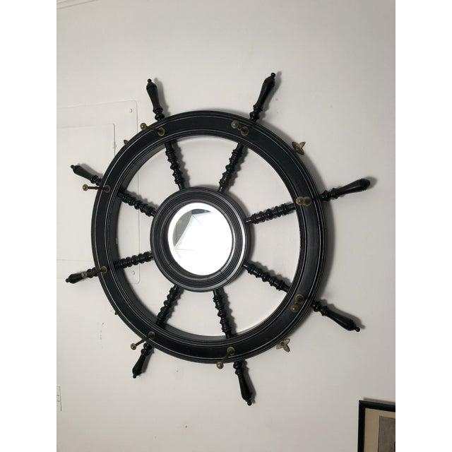 Metal 19th Century Ebonized and Turned Wood Ship's Wheel Mirror and Hat and Coat Rack For Sale - Image 7 of 11