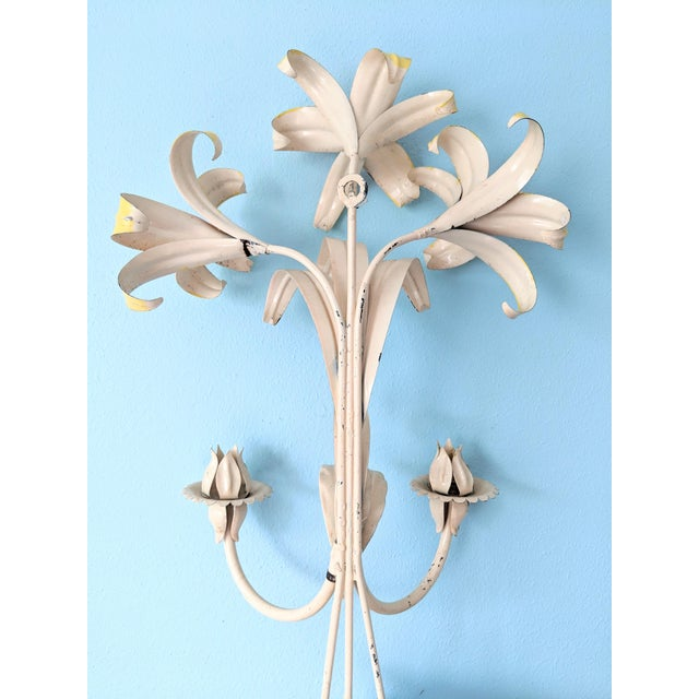 Large Mid 20th Century Italian Tole Yellow & Orange Lily Wall Sconces- a Pair For Sale - Image 9 of 11