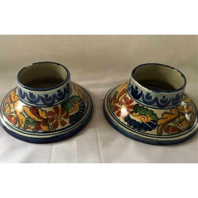 Navy Blue Vintage Talavera Hurricane Candleholders - a Pair For Sale - Image 8 of 10