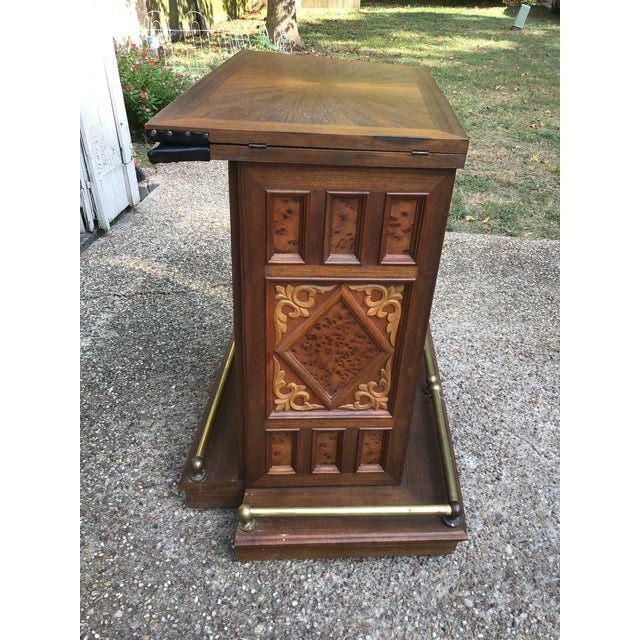 Vintage Carved Chinese Oriental Style Folding Expandable Bar Cabinet For Sale - Image 10 of 12