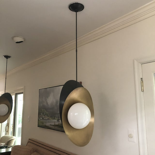 """Visual Comfort """"Nouvel"""" Bronze With Antique Brass Pendant Ceiling Light For Sale - Image 12 of 12"""