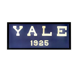 Iconic Large Yale University 1925 Pennant Framed Blue and White Banner For Sale