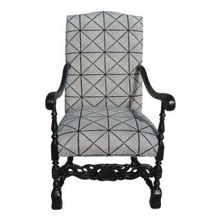 Antique Regal Black Armchair For Sale