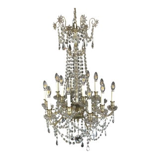 1870s Large French 24 Light Napoleon III Baccarat Chandelier For Sale