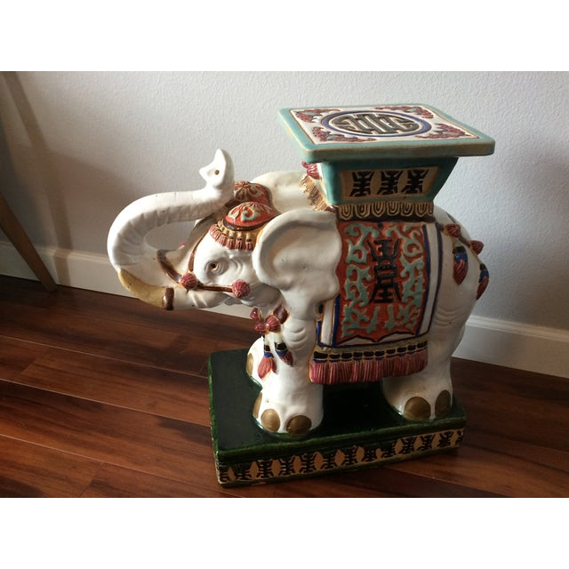 Vintage Asian Elephant Garden Stool or Side Table - Image 8 of 8