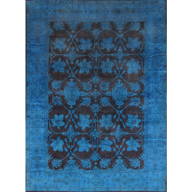 """Overdyed Handmade Brown & Blue Rug - 10'2"""" X 13'8"""" - Image 1 of 2"""
