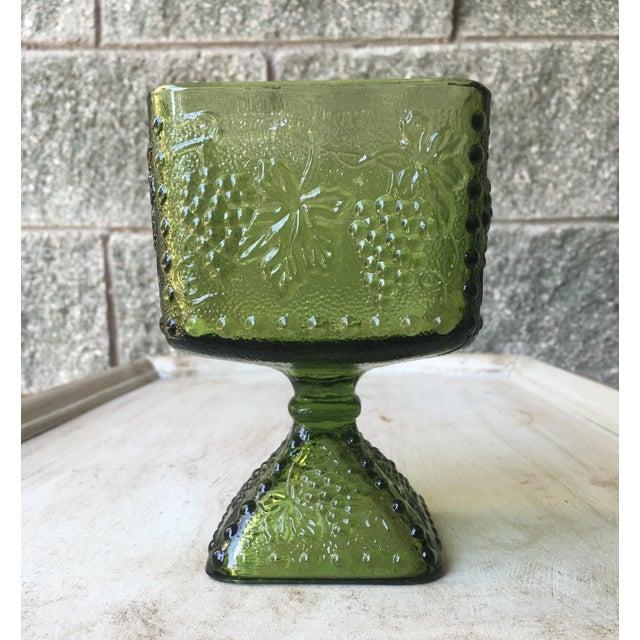 Vintage Green Glass Grapes Pedestal Planter - Image 3 of 7