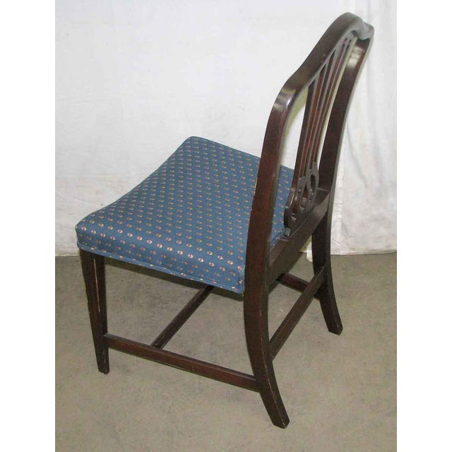 Blue Antique Mahogany Dining Chairs - Set of 5 For Sale - Image 8 of 10