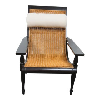 Palecek Ebonized Wood & Wicker Lounge Chair For Sale