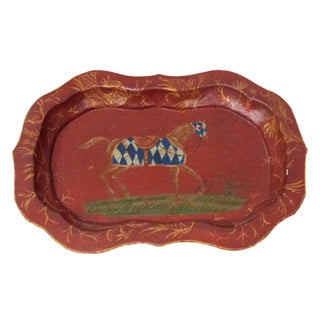 Red Painted Horse Tole Tray