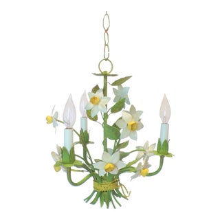 Mid Century Vintage Daffodil Toleware Chandelier For Sale