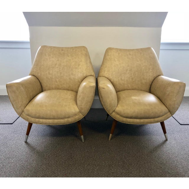 Mid-Century Club Chairs - A Pair For Sale - Image 10 of 10
