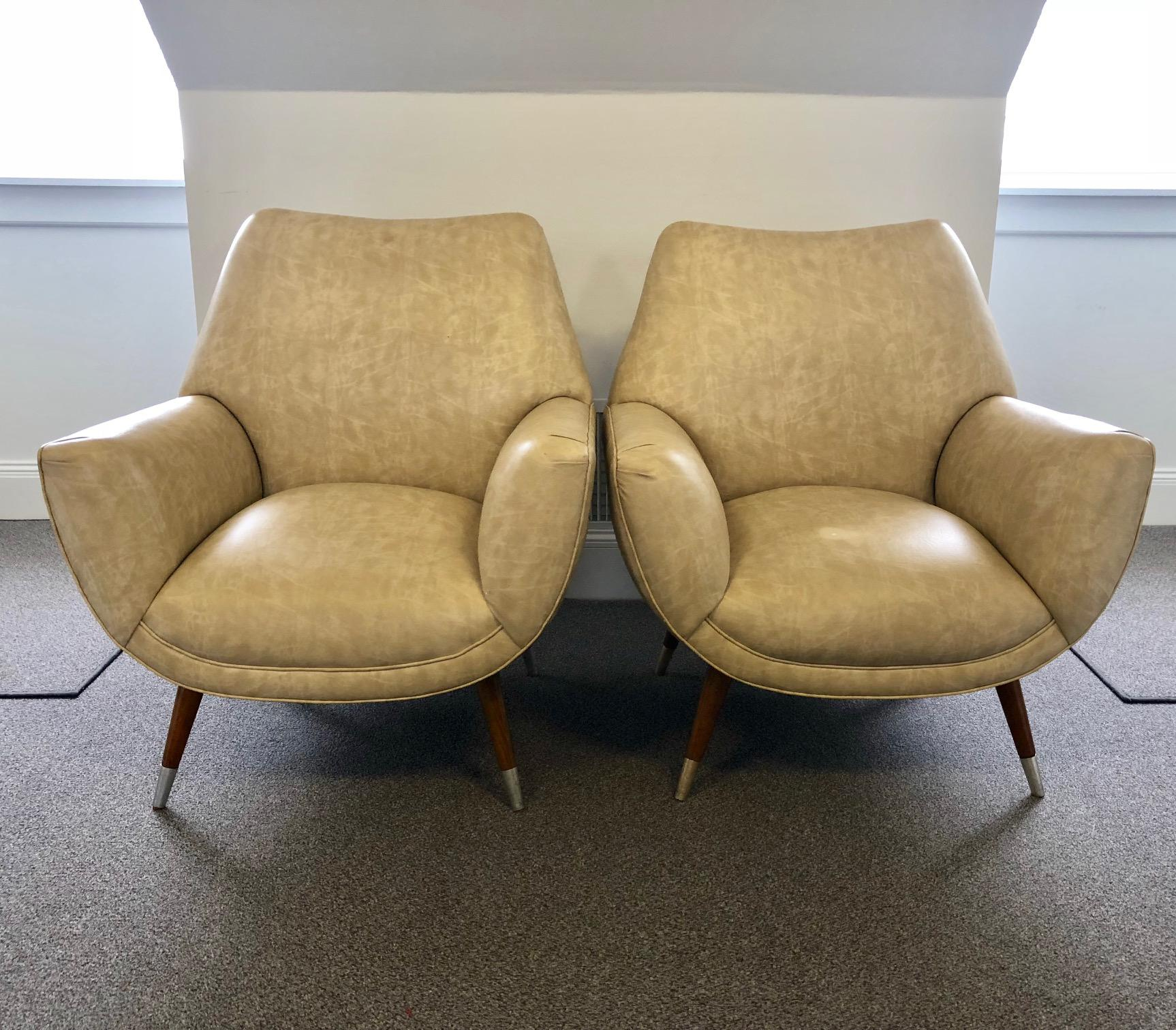 Mid Century Club Chairs   A Pair   Image 10 Of 10