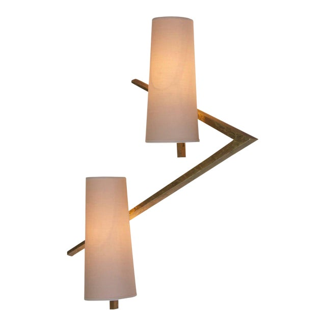 Pair of Bronze Sconces or Wall Lamps from Maison Arlus For Sale