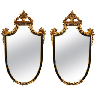 Hollywood Regency Style Ebony and Gilt Wood Wall or Console Mirrors - a Pair For Sale