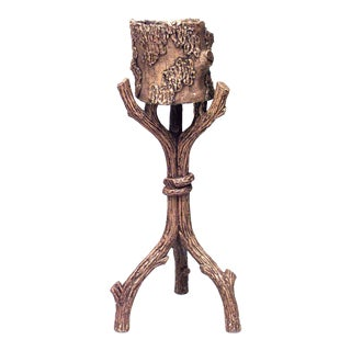 19th-20th Century Rustic Continental Faux Twig Design Terracotta Fernery For Sale