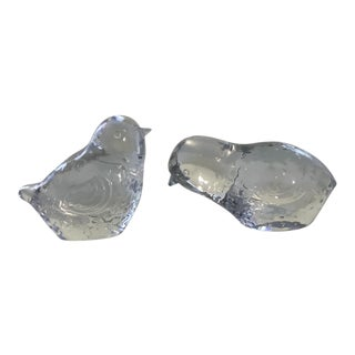 Baccarat Crystal Bird Figurines - a Pair For Sale
