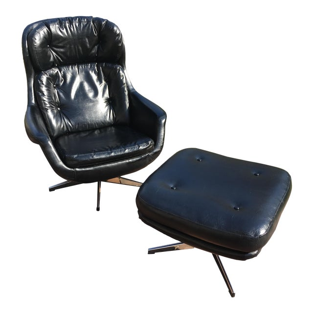 Mid-Century Selig Imperial Egg Chair & Ottoman For Sale