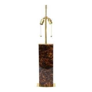 Karl Springer Style Tortoise Metal and Brass Mid Century Modern Column Lamp For Sale