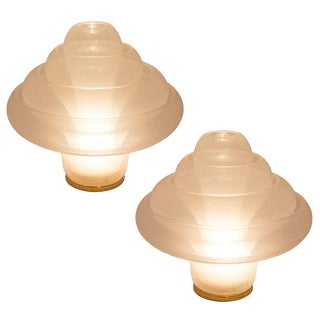 "Pair of Carlo Nason for Mazzega ""Lotus"" Lamps, Circa 1970s For Sale"
