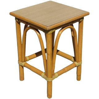 Restored Small Rattan Side Table with Arched Sides For Sale