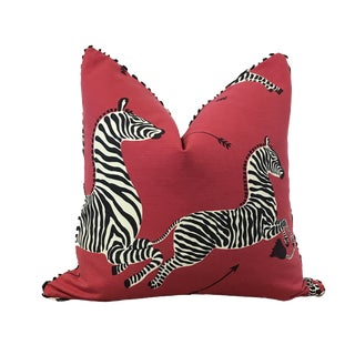 "22x22"" Scalamandre Zebras Red Cotton Throw Pillow"