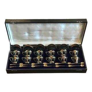 Robert & Belk Ltd Cobalt Demitasse Coffee Set Art Nouveau English Sterling - Antique Set of 12 For Sale
