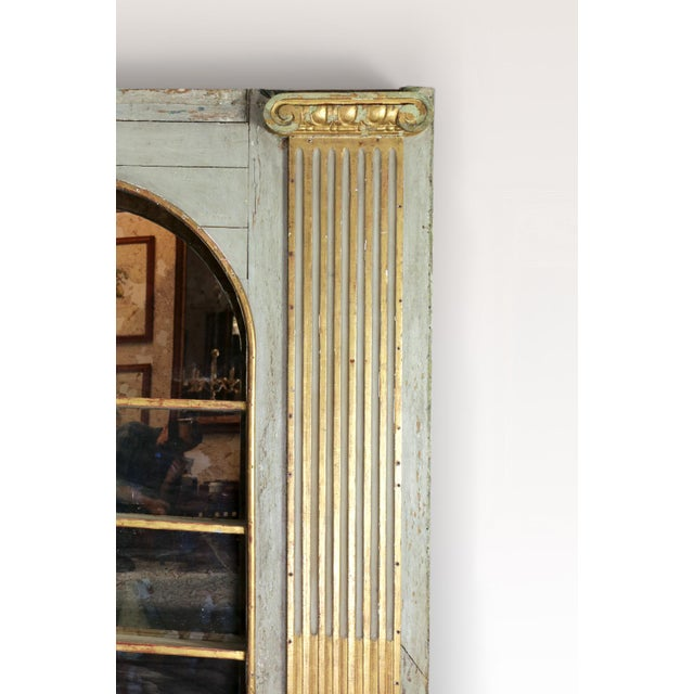 Italian 1820s Whimsical Painted Italian Architectural Element Fitted as a Bookshelf With Gilded Ionic Columns For Sale - Image 3 of 9