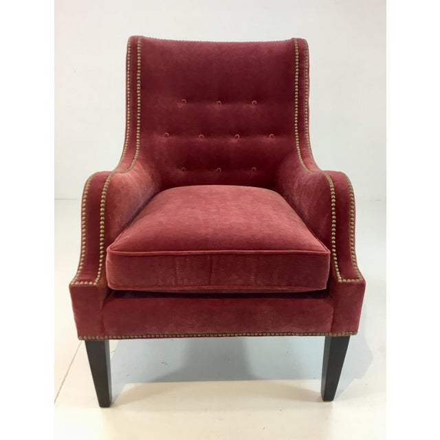 Stylish Modern Thomasville Red Velvet Chandon Club Chair For Sale In Atlanta - Image 6 of 6