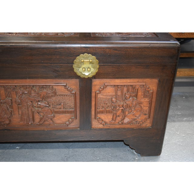 Chinese 1950s Vintage Chinese Rosewood Hand Carved Camphor Interior Trunk For Sale - Image 3 of 9