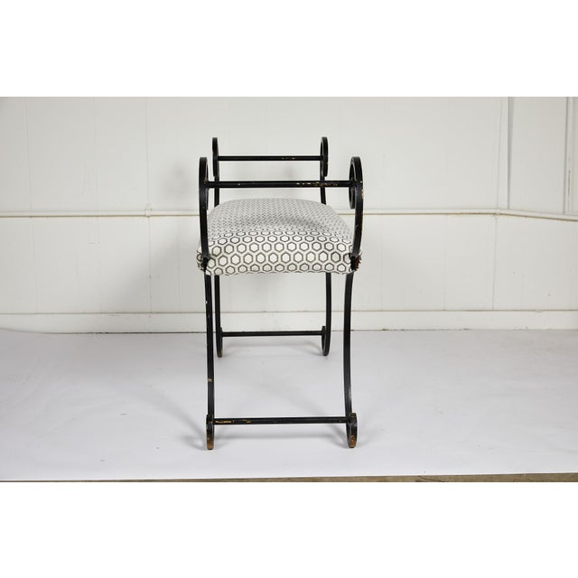 Late 20th Century Hollywood Regency Scrolling Iron Bench in Jim Thompson Fabric For Sale - Image 5 of 12