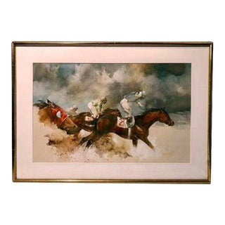 Late 20th Century Equestrian Gouache Painting by Ralph Scharrf, Framed For Sale