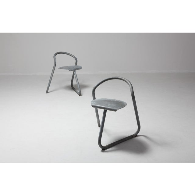 Danish Stackable Chairs in Galvanized Steel by Erik Magnussen, Set of Nine For Sale - Image 6 of 10