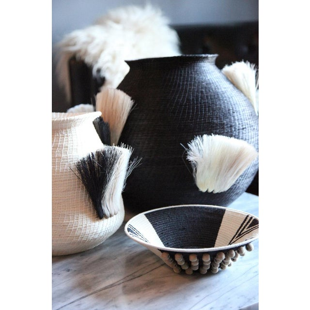 Boho Chic Fanned Out Small Bulbous Vase Cream & Black Fans For Sale - Image 3 of 4