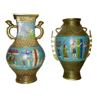 Japanese Bronze and Enamel Vases in Egyptian Motif - a Pair For Sale