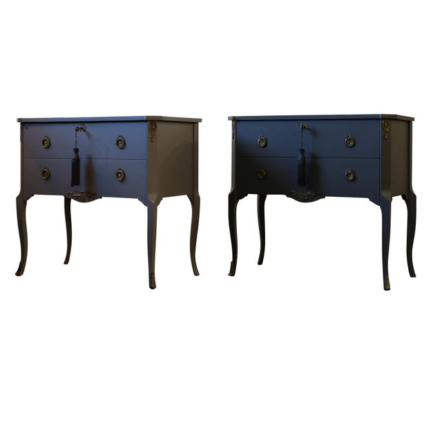 Gustavian Hauptbyrå with marble slab and frame in full matt black, redesigned with a custom lacquered gray finish. Fine...