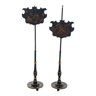 19th C. English Chinoiserie Pole Fire Screens - a Pair For Sale
