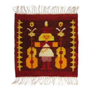 Vintage Polish Kilim Weaving of a Girl With Guitars