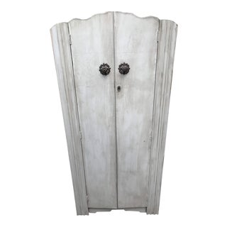 Art Deco Wardrobe With Clothing Pole and Angled Shelves / Unique Knob and Keyhole For Sale