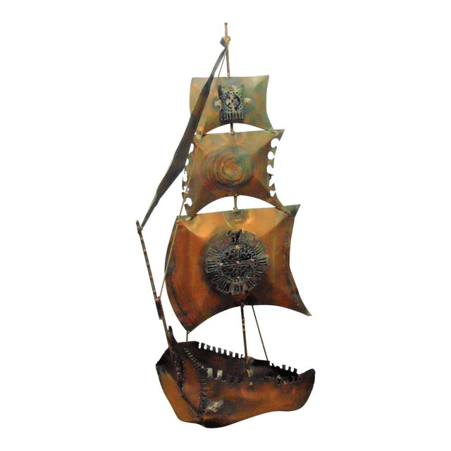 Vintage Copper Ship Wall Sculpture - Image 1 of 5