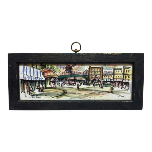 "Vintage Mid Century ""Paris - Le Moulin Rouge"" Original Painting on Tiles by Renee' For Sale"