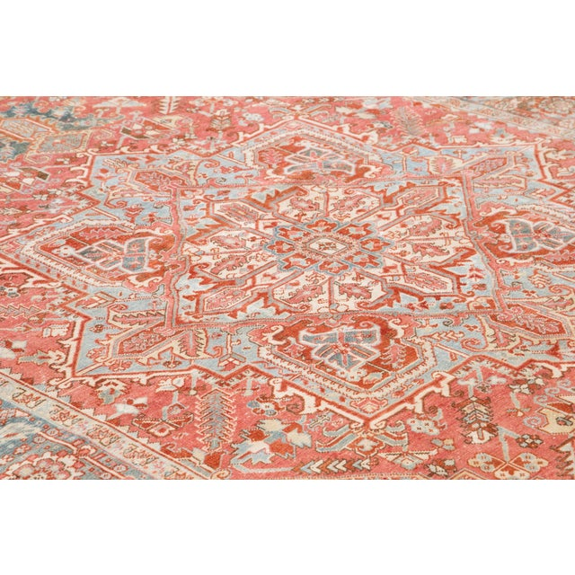 Textile Early 20th Century Antique Heriz Wool Rug For Sale - Image 7 of 11