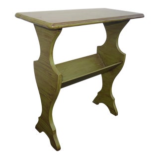 Vintage French Country Distressed Green Side Table